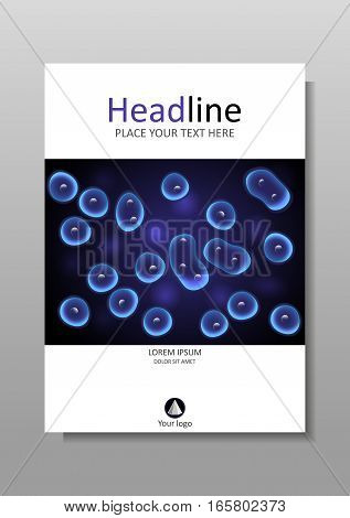 Book cover design black and blue background cells. Academic medical biological journals magazines conferences banners flyers reports. A4. Vector. Luminescent cell culture effect nucleus.