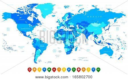 Detailed World map of blue colors and colorful map pointers