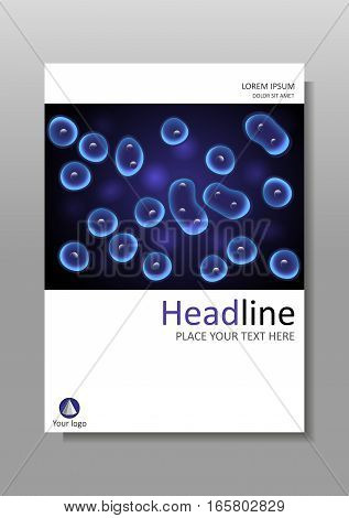 Luminescent cell culture effect nucleus. Book cover design black and blue background cells. Academic medical scientific journals magazines conferences banners flyers reports. A4. Vector.