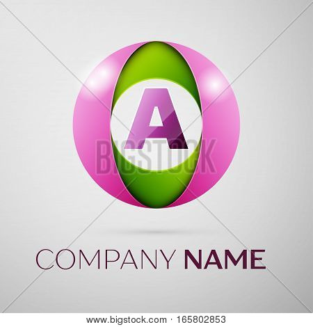 Letter A vector logo symbol in the colorful circle on grey background. Vector template for your design