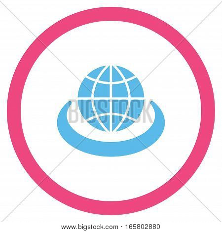 Global Network vector bicolor rounded icon. Image style is a flat icon symbol inside a circle, pink and blue colors, white background.