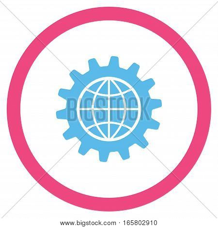 Global Options vector bicolor rounded icon. Image style is a flat icon symbol inside a circle, pink and blue colors, white background.
