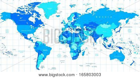 Detailed World map of blue colors isolated on white