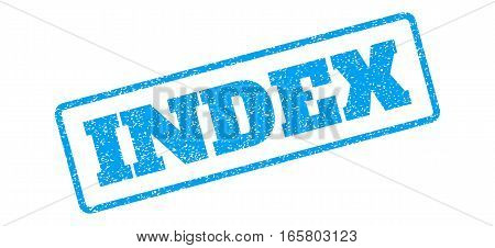 Blue rubber seal stamp with Index text. Vector tag inside rounded rectangular shape. Grunge design and dust texture for watermark labels. Inclined blue sticker on a white background.