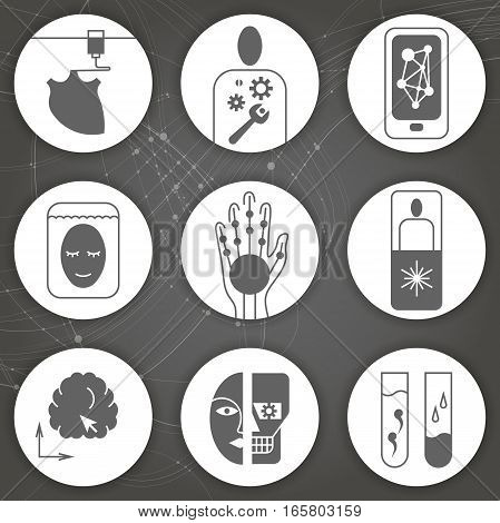 Set of round monochrome flat vector icons on the subject of life extension technologies medicine in the future.