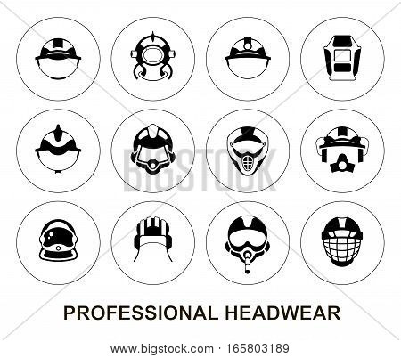 Set of thin line vector round icons. Professional headwear for professions: tank crewman pilot astronaut firefighter diver miner builder hockey player motorcyclist rider welder mounter.