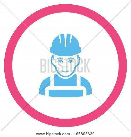 Happy Mechanic vector bicolor rounded icon. Image style is a flat icon symbol inside a circle, pink and blue colors, white background.