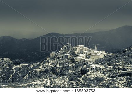 B&w Image Of Snow On Speloncato In Corsica
