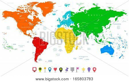 Detailed vector World map with colorful continents and flat map pointers.
