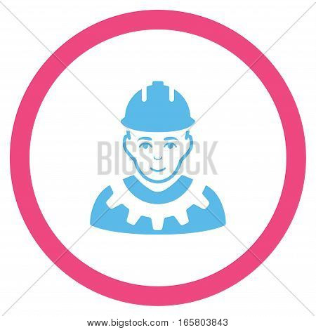 Industrial Builder vector bicolor rounded icon. Image style is a flat icon symbol inside a circle, pink and blue colors, white background.
