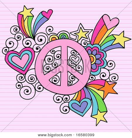 Hand-Drawn Psychedelic Groovy Peace Sign Notebook Doodles on Lined Paper Background- Vector Illustration