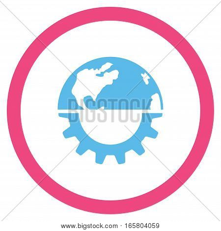 International Industry vector bicolor rounded icon. Image style is a flat icon symbol inside a circle, pink and blue colors, white background.