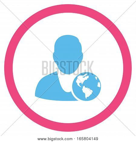 International Manager vector bicolor rounded icon. Image style is a flat icon symbol inside a circle, pink and blue colors, white background.