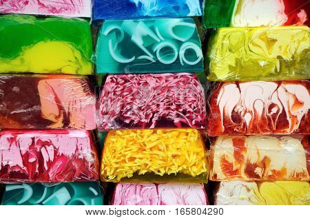 Assortment of colorful natural aromatic handmade soap for sale