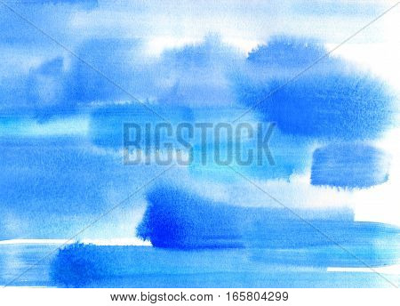 Abstract blur bright blue watercolor blots background