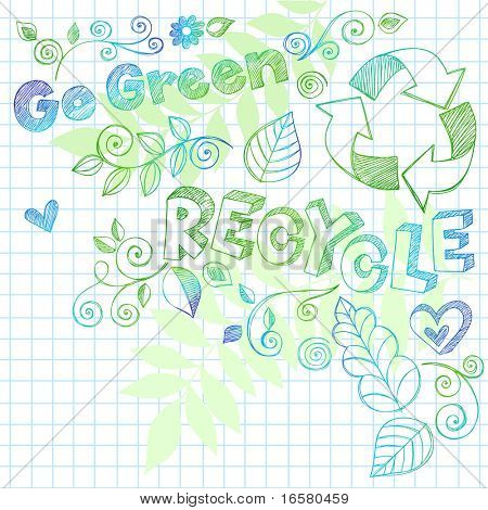 Hand-Drawn Go Green Nature Leaves and Swirls Sketchy Doodles on Graph (Grid) Notebook Paper Vector Illustration with Recycle Lettering