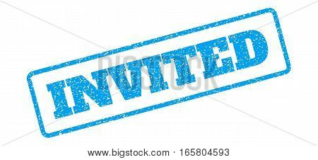 Blue rubber seal stamp with Invited text. Vector message inside rounded rectangular banner. Grunge design and dirty texture for watermark labels. Inclined emblem on a white background.