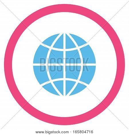 Planet Globe vector bicolor rounded icon. Image style is a flat icon symbol inside a circle, pink and blue colors, white background.