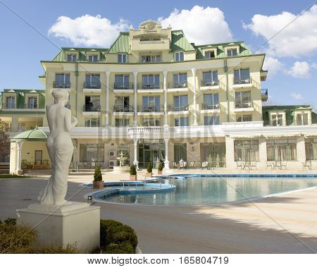 SAINTS CONSTANTINE AND HELENA BULGARIA - APRIL 02 2015: hotel Romance in Saints Constantine and Helena the oldest first sea resort of Bulgaria exists from 19 century.