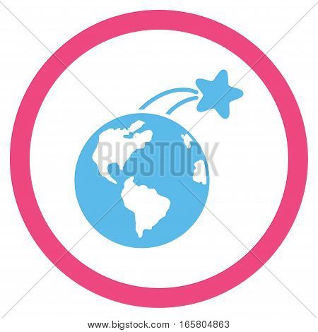 Rising Satellite On Earth vector bicolor rounded icon. Image style is a flat icon symbol inside a circle, pink and blue colors, white background.