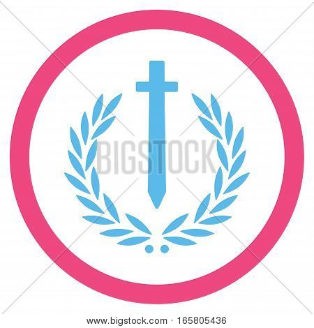 Sword Honor Embleme vector bicolor rounded icon. Image style is a flat icon symbol inside a circle, pink and blue colors, white background.