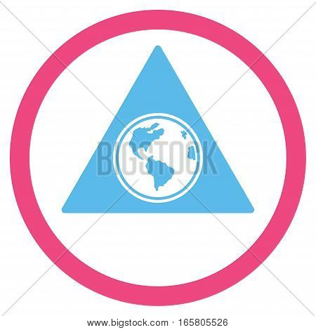 Terra Triangle vector bicolor rounded icon. Image style is a flat icon symbol inside a circle, pink and blue colors, white background.