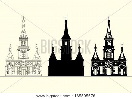 Vector set of facades of an old Orthodox church. Thin line drawing silhouette black and white graphics. Concept for logo.