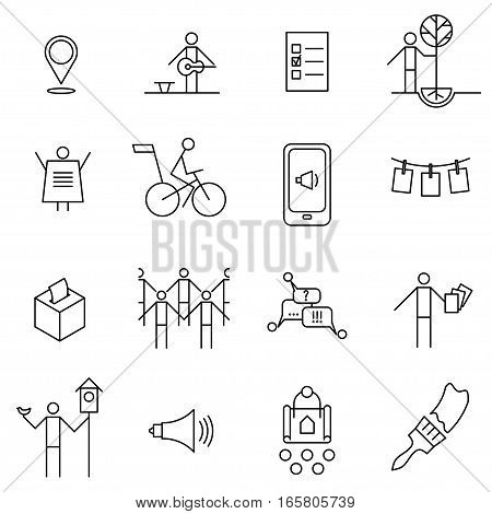 Set of thin line icons on the theme of urban initiatives social movements agitation and propaganda.