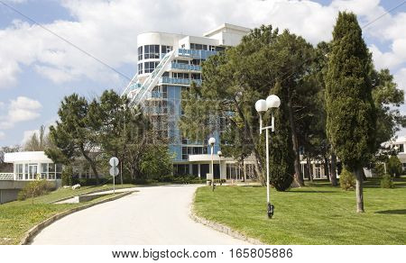 SAINTS CONSTANTINE AND HELENA BULGARIA - APRIL 23 2015: hotel Rubin in Saints Constantine and Helena the oldest first sea resort of Bulgaria exists from 19 century.