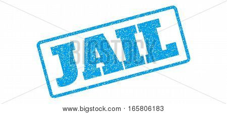 Blue rubber seal stamp with Jail text. Vector message inside rounded rectangular shape. Grunge design and dust texture for watermark labels. Inclined blue sticker on a white background.