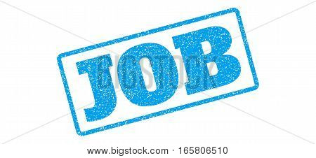 Blue rubber seal stamp with Job text. Vector caption inside rounded rectangular shape. Grunge design and dirty texture for watermark labels. Inclined sign on a white background.