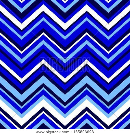 Abstract colorful geometric chevron seamless pattern in blue and white, vector background