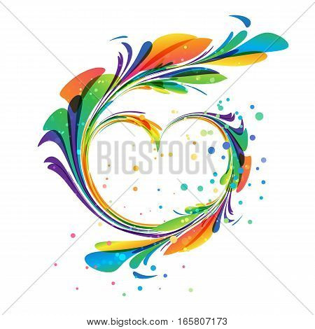 Art heart ornament on white background, colored composition
