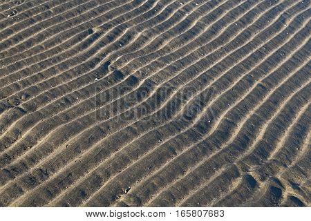Texture. Waves on the sand. Dunes. Dark gray shades