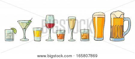 Set glass beer whiskey wine gin rum tequila cognac champagne cocktail. Vector flat illustration isolated on white background