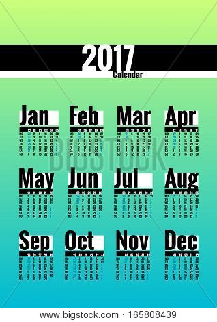 Calendar vector template for 2017 year. Week starts on Monday. Calender with week numbers. Year on one page, suitable for poster or pocket calendar. Light colors, blue and green