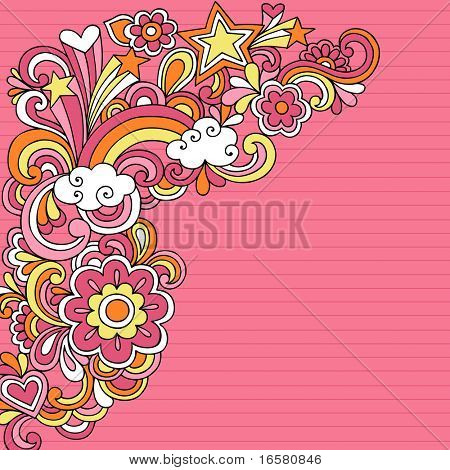 Hand-Drawn Psychedelic Groovy Rainbow and Stars Colored Notebook Doodles on Pink Lined Sketchbook Paper Background- Vector Illustration