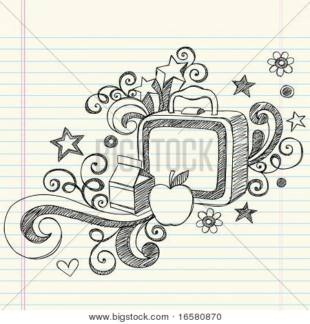 Hand-Drawn Back to School Sketchy Notebook Doodles of a Lunchbox, Milk Box & Apple with Swirls, Hearts, and Stars- Vector Illustration Design Elements on Lined Sketchbook Paper Background