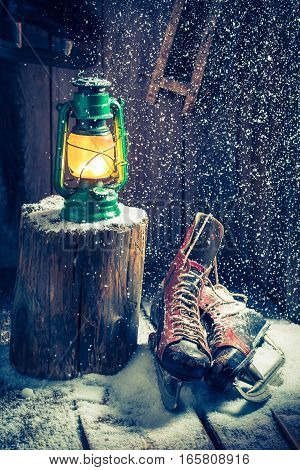 Cozy Winter Hut With Skates And Wax