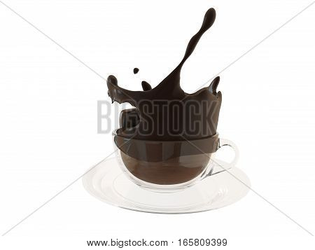 Hot chocolate splash in glass cup, splashing coffee. 3D illustration