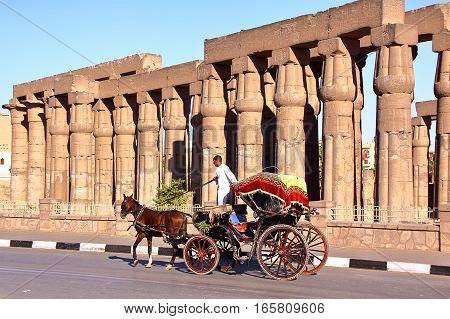 LUXOR, EGYPT - NOVEMBER 2, 2011: A Tourist Caleche (horse carriage) outside Luxor temple