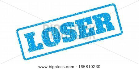 Blue rubber seal stamp with Loser text. Vector caption inside rounded rectangular banner. Grunge design and scratched texture for watermark labels. Inclined blue sticker on a white background.