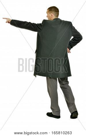 Handsome Man in coat pointing up on a white background