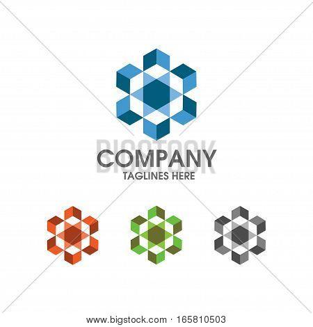 Hexagon box color logo concept illustration. Hexagon abstract logo. Vector logo template Design element