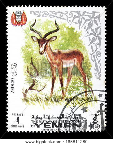 YEMEN - CIRCA 1969 : Cancelled postage stamp printed by Yemen, that shows Antelope.