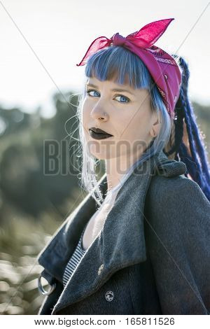 Beautiful Alternative Style Blue Eyed Girl Portrait In Morning Light