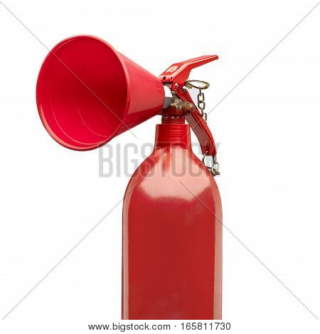Red color extinguisher looking like speaking trumpet. Clipping path