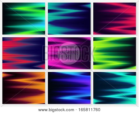 Graphic Lines Glitch Backgrounds Set Abstract Textures 1