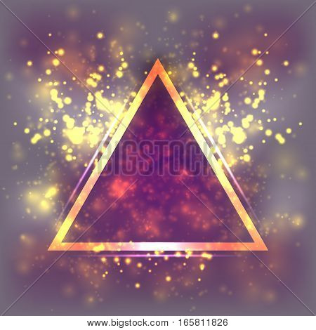 Abstract light background, triangular gold frame. Blurred pastel magenta and purple space, dust, particle and glare. Fantastic cosmos and the universe, Illustration astrological backdrop galaxy