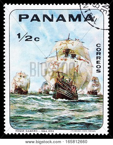 PANAMA - CIRCA 1968 : Cancelled postage stamp printed by Panama, that shows Old sailing ship.